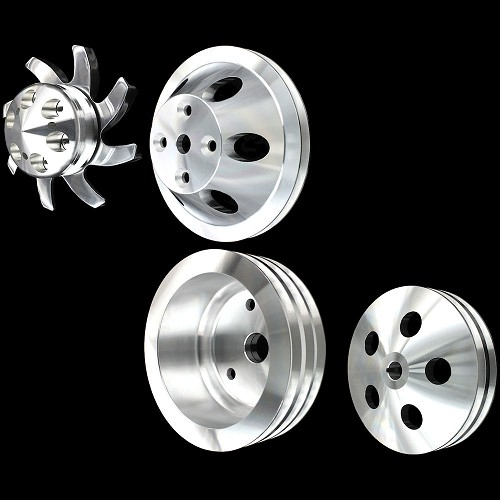MCC907913908912921 Billet small block Chevy pulley kit long water pump 4 pulley set  alt ac and ps
