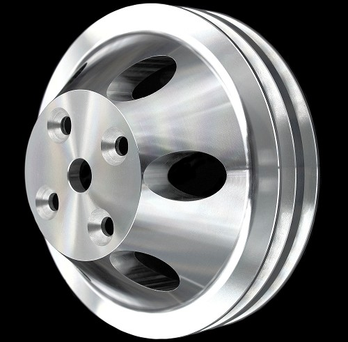 MCC909 Billet small block chevy waterpump 2 groove pulley for long water pump