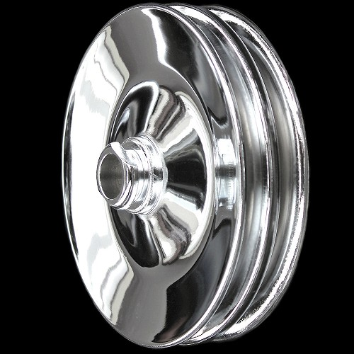 MCC929 Chrome power steering pulley PRESS on 1977 and later