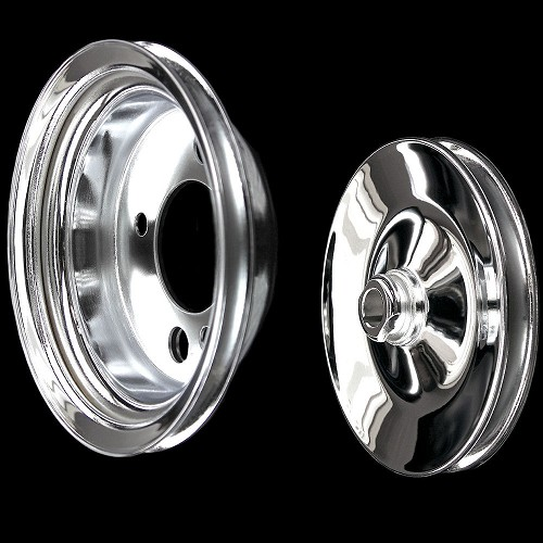 MCC9817923 Chrome small block chevy pulley kit power steering add on pulley set 2 pulleys swp