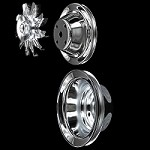 MCC561604606 Chrome small block Chevy pulley set single groove long water pump