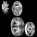 MCC561604608924 Chrome small block Chevy pulley set 4 pulleys long water pump a/c keyway double p/s