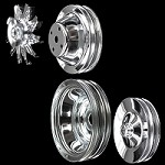 MCC561605608924 Chrome small block Chevy pulley set 4 pulleys long water pump a/c keyway p/s