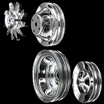 MCC561605608929 Chrome small block Chevy pulley set 4 pulleys long water pump a/c press on p/s
