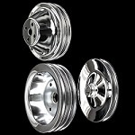 MCC601611923 Chrome small block Chevy pulley kit 3 pulley set short water pump 283 327 350 for ac and ps