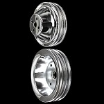 MCC601611 Chrome small block Chevy pulley kit 2 pulley set short water pump 283 327 350 for ac and ps