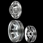 MCC604608929 Chrome small block Chevy pulley set 3 pulleys long water pump alt a/c press on p/s