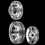 MCC605608924 Chrome small block Chevy pulley set 3 pulleys long water pump a/c keyway p/s