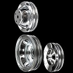 MCC605608929 Chrome small block Chevy pulley set 3 pulleys long water pump a/c press on p/s