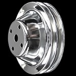 MCC605 Chrome small block chevy 2 groove long water pump upper pulley