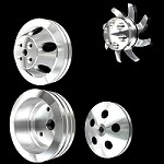 MCC907913904925922 Billet small block chevy pulley kit short water pump 4 pulley Set alt ps ac