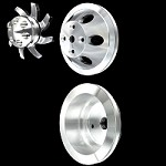 Billet small block Chevy pulley kit 1 groove long water pump 3 pulley set alt only