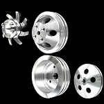 MCC907913909912922 Billet small block Chevy pulley kit 4 pulley set lwp alt ac and ps 283 327 350 400