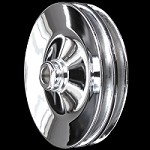 MCC924 Chrome small and big block chevy 2 groove power steering pulley short and long pump